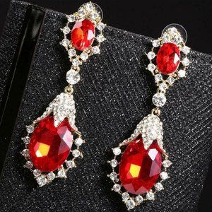 Beautiful Long Red Wedding Earrings